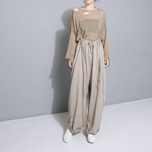 Literary wind sling to adjust a variety of wearing comfortable cotton and linen loose wide leg pants