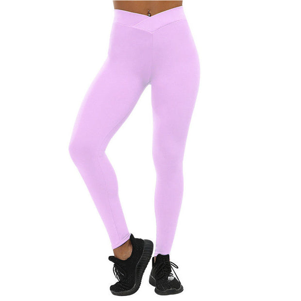 New Solid Color Cross Waist Sports Leggings