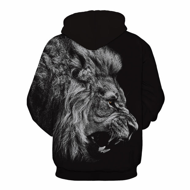 Lion head digital print hooded sweater
