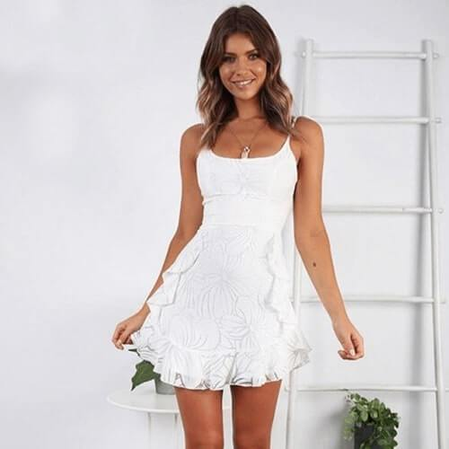 Spring and summer fashion print ruffled sling female dress