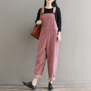 Ladies overalls loose Velvet jumpsuit Full length Jumpsuit Romper Cropped Mono largo mujer
