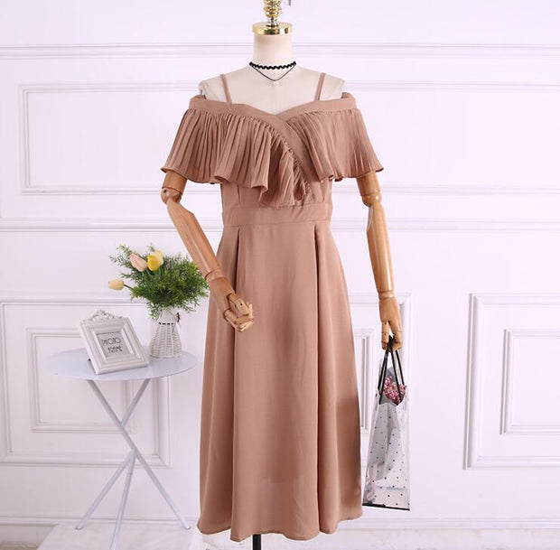 Spaghetti strap Solid Color Elastic mini dress