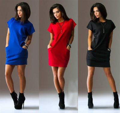 Summer Fashion Women Clothing Casual Short Sleeve O-Neck Black Blue Dresses Slim Pocket Bodycon T Shirt Dress
