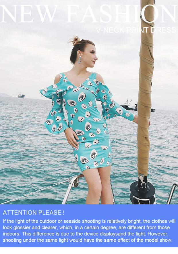 USA SIZE Sexy V-neck off-the-shoulder print trumpet sleeve tight-fitting hip dress