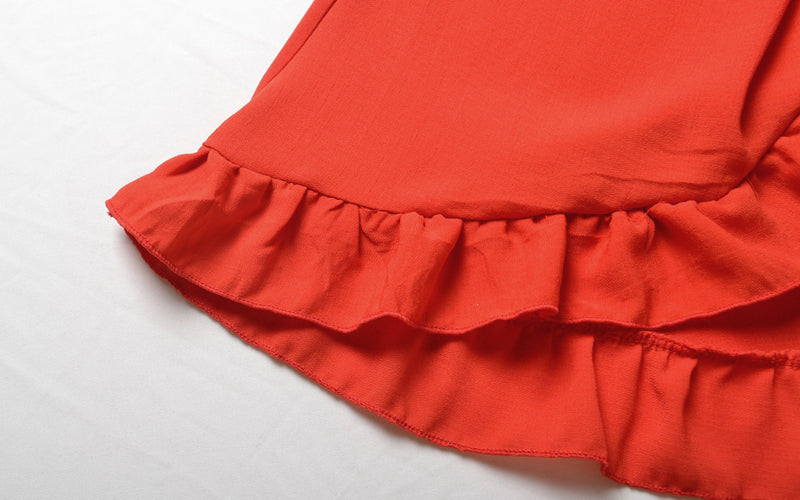 USA SIZE Ruffled lace-up skirt sexy high cross  holiday beach skirt