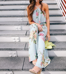 Bohemian Printed Jumpsuit Casual Straight Pants