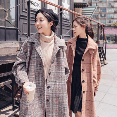 Plaid woolen coat female long section Korean version 2018 winter new students loose over the knee popular woolen coat