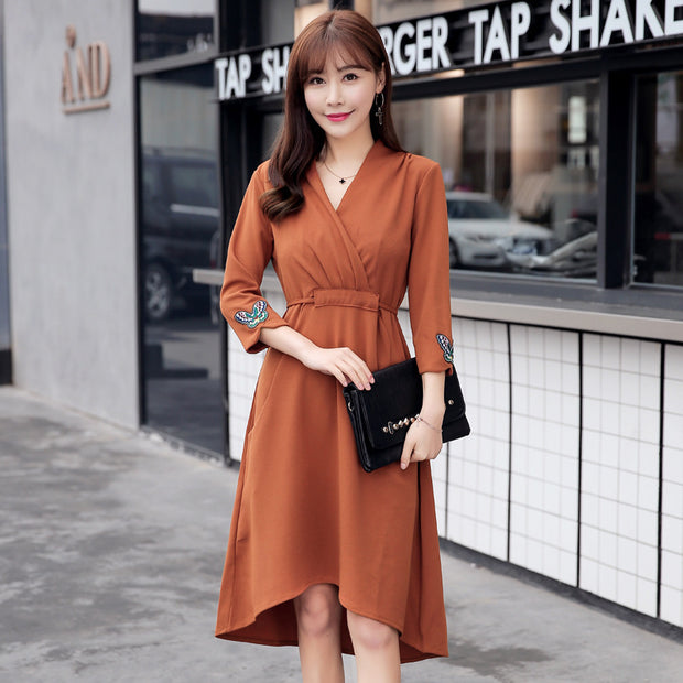 Korean version of the long high waist irregular color stitching skirt
