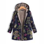 Women's Cotton & Linen Floral Hooded  Coat