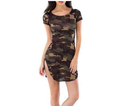 2018 summer new women's AliExpress EBAY explosion models camouflage printed hem slit sexy short-sleeved dress