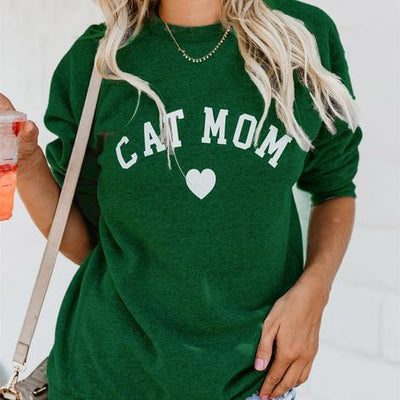Cat Mom Letter printed long sleeve casual sweater