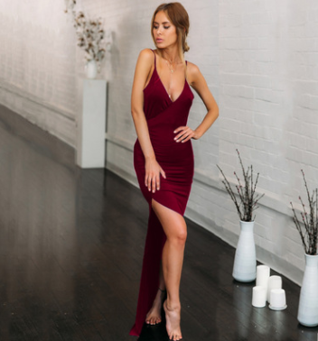 Women V-neck Solid Color Sexy Bodycon Dress