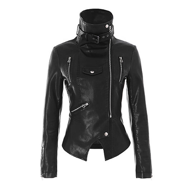 Women High-neck Leather Jacket