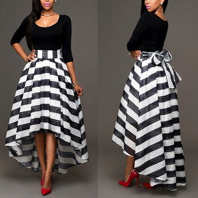 New women's one-piece collar two-piece suit skirt long-sleeved shirt + striped skirt