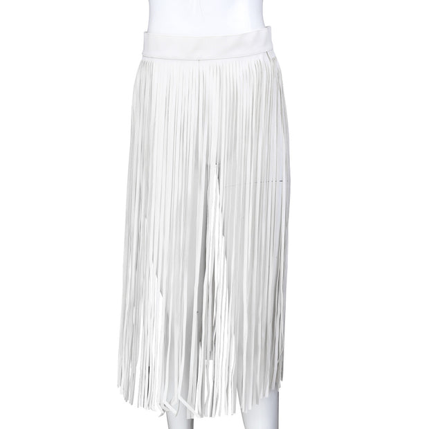 Women's Alternative Bondage Clothing Black White Leather Multiple Fringe Skirts