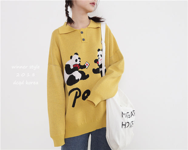 Japanese children's fun funny panda playing cards polo collar pullover sweater loose wild sweater sweater women autumn and winter