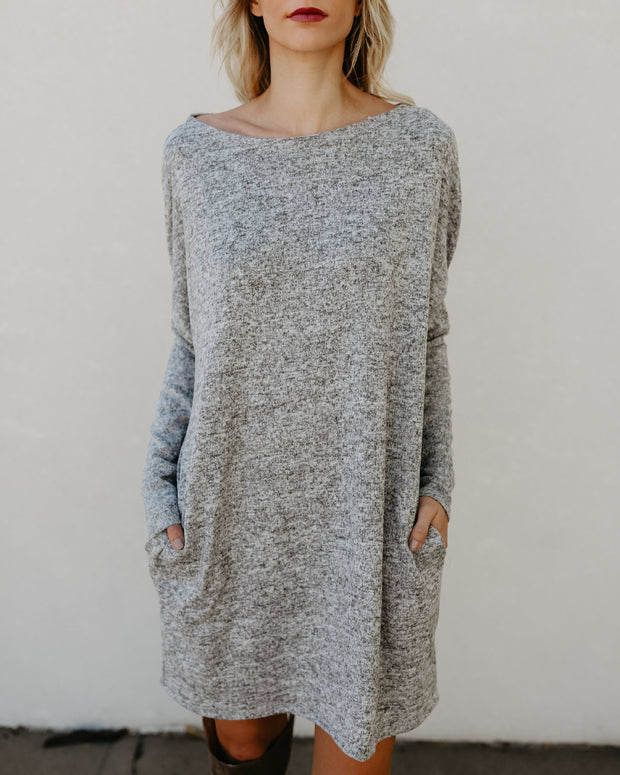 Casual Knitted Cotton Long Sleeve Mini Dress