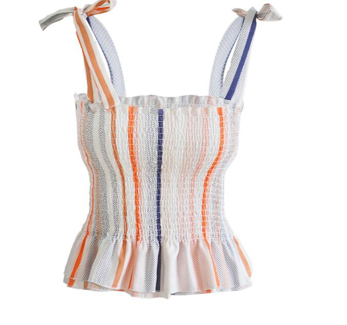 Sling bow color strip top tube spring and summer vest