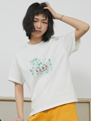 Loose retro hand-painted round neck short-sleeved T-shirt