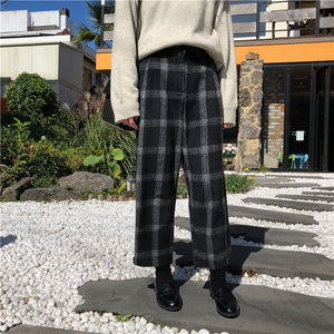 Thick warm high waist woolen wide leg pants slim casual pants