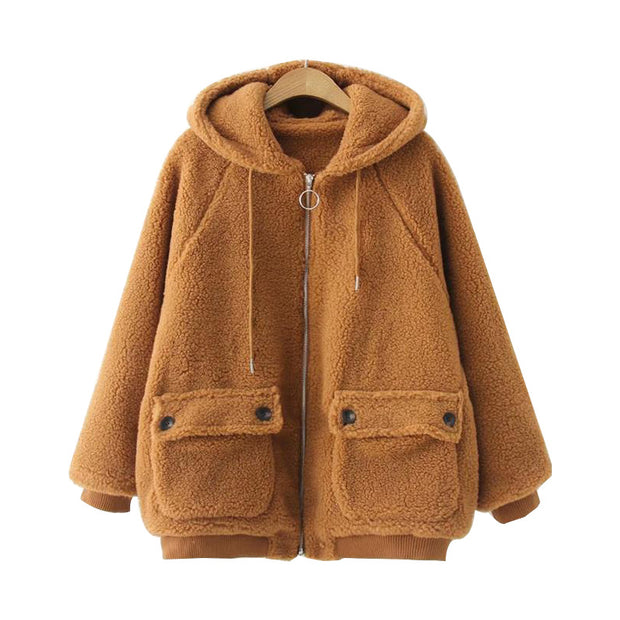Loose Hooded Warm Fleece Jacket