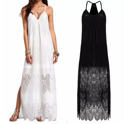 Summer dress, European and American lace V collar, sling, sexy dress, beach skirt.