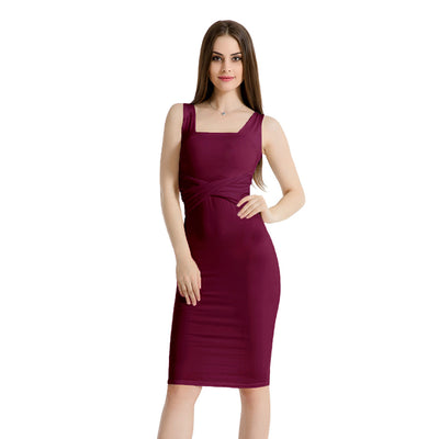 USA SIZE Ice silk breathable sleeveless square collar pleated tight skirt patch sexy bag hip dress