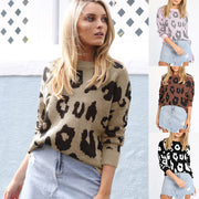 Autumn and winter women's four-color long-sleeved leopard print loose sweater