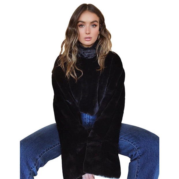 Autumn winter rabbit fur coat
