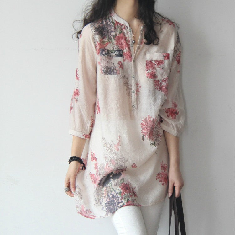 large size cotton and linen floral loose long paragraph seven-point sleeve shirt Korean version of the literary women's clothing