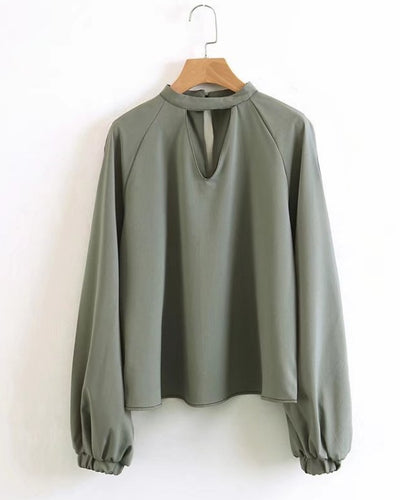 Army Green Long Sleeved Blouse