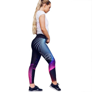 Cross-border new European and American foreign trade four-pin six-line digital printing yoga leggings hip high waist leggings