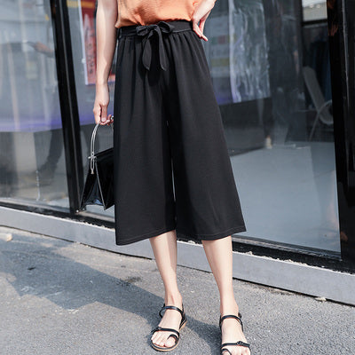 Wide-leg Solid Color Tied Chiffon Pants