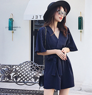 Wrapped Half-sleeve Chic Stripe Romper