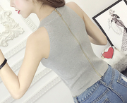 Zipper Back Knit Halter Tank Top