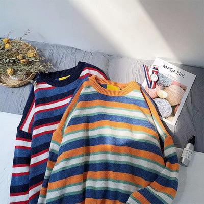 Contrast striped sweater autumn Korean version bf wind loose personality jacket student couple knitting line