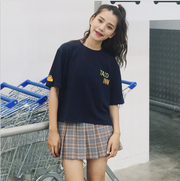 Spring new European and American fan AA high waist plaid skirt British wind college wind and play short skirt skirt