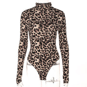 Sexy high collar leopard long-sleeved  Jumpsuit