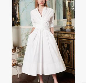 2018 spring and summer new women's European and American fashion ladies temperament folds waist large display thin shirt dress tide