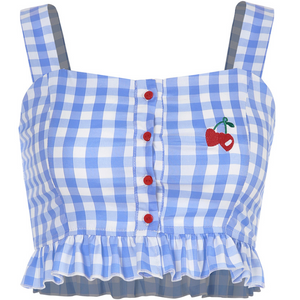 Blue plaid cherry embroidered camisole lace crop top