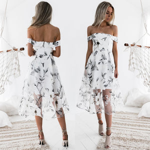 Adele Off Shoulder Lace Floral Silk Dress