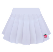 Pleated Skirt Strawberry Embroidered High Waist A-Line Skirt