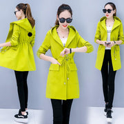 Women Medium Length Casual Hoodie Coat