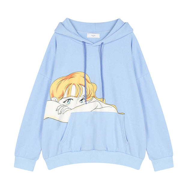 New Brand Cartoon Print Loose Hooded Pullover