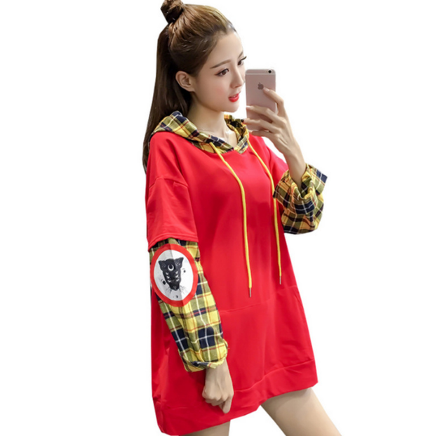 Patchwork Fake 2 Piece Plaid Hooded Coat
