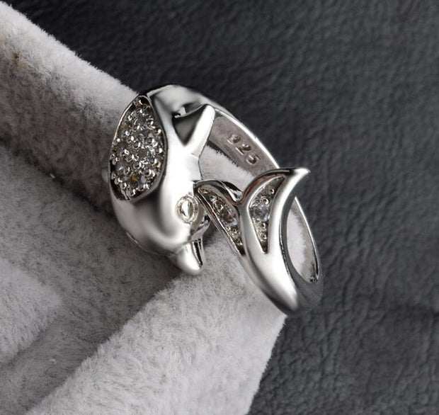 925 Silver Creative Dolphin Ring Adjustable Size
