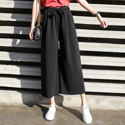 Wide leg pants female 2018 spring summer new Korean version of Broadway loose Chiffon leisure straight tie lace nine points waist waist pants