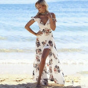 USA SIZE Printed off-the-shoulder beach dress dress seaside holiday irregular split chiffon dress
