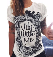 Vibe With Me Printed Boho Short Sleeve T-Shirt