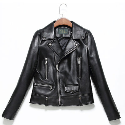 Sheep leather short short female spring and autumn 2018 new fashion leather jacket jacket slim slim handsome pure leather